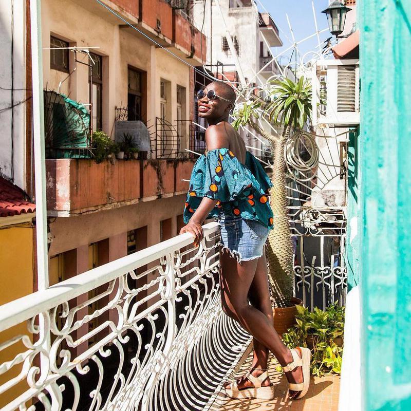 Jessica Nabongo on balcony in Cuba