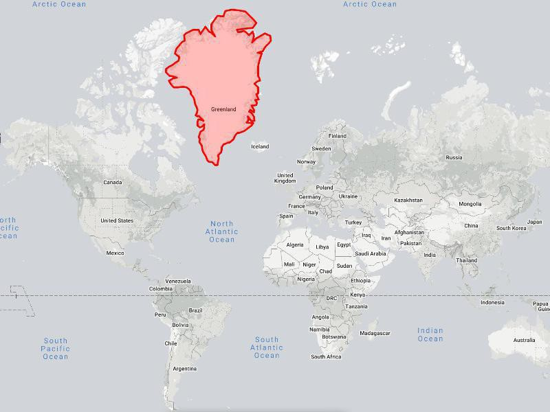 Greenland on the world map