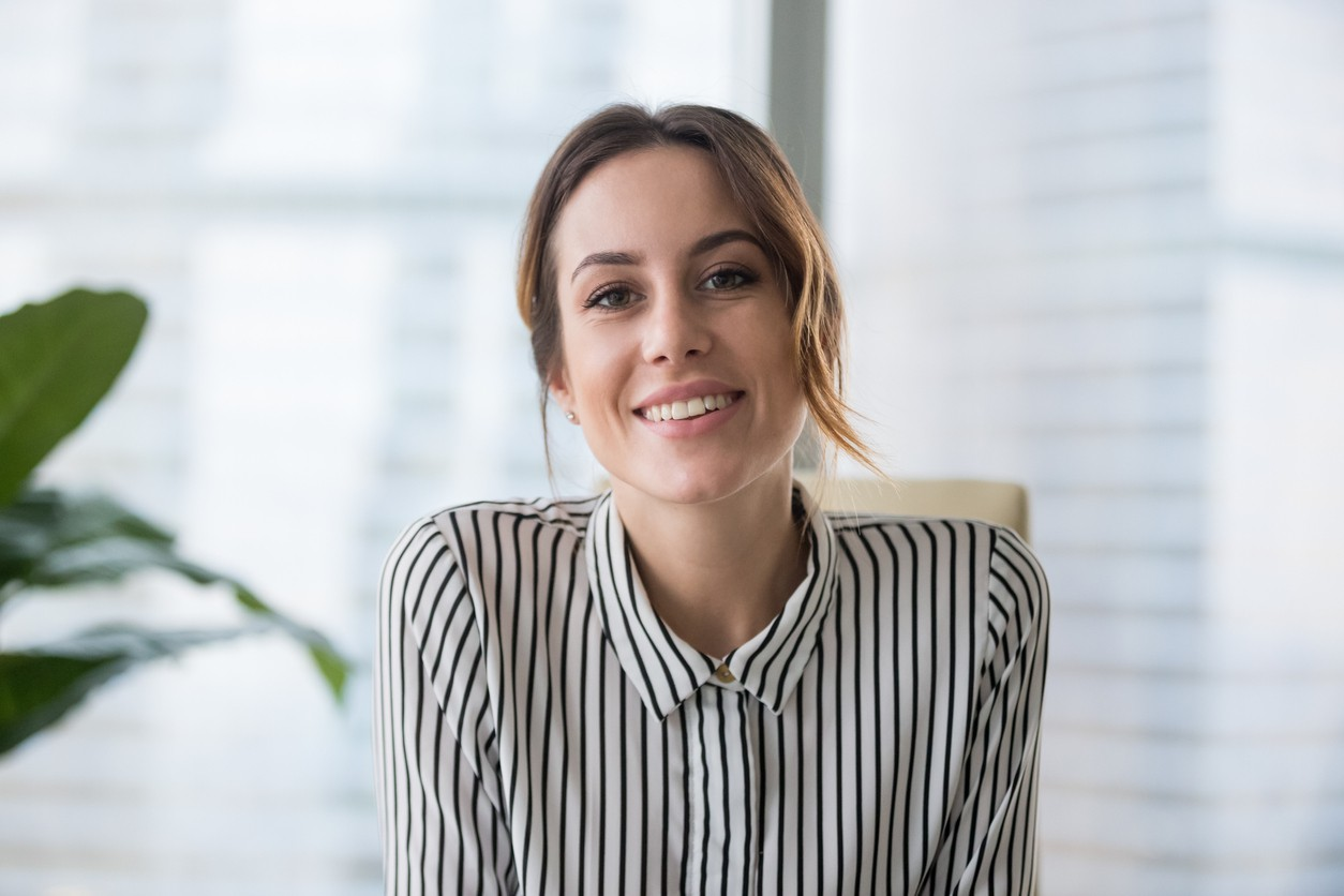 Smiling job interviewer
