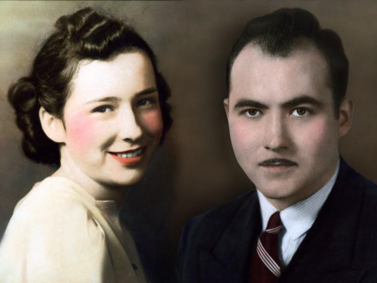 Composite portrait of U-Haul co-founders L.S. and Anna Mary Carty Shoen