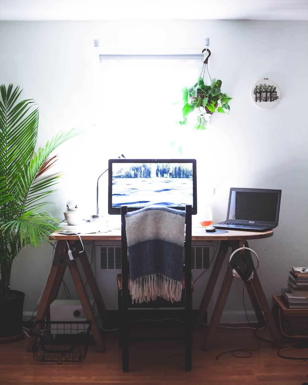 Work from home desk setup