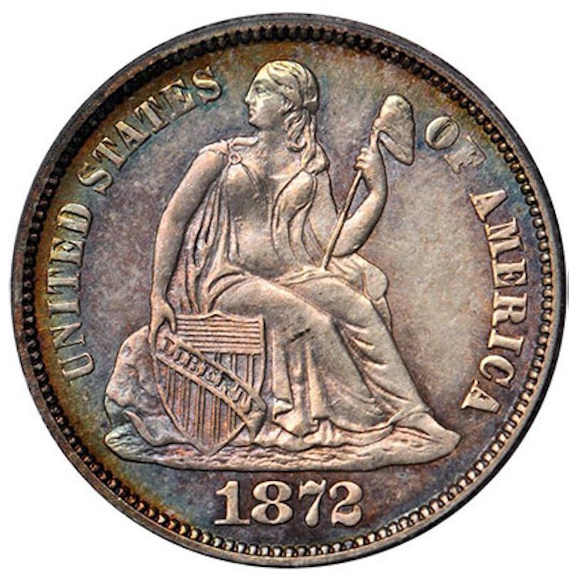 1872 CC Seated Liberty Dime