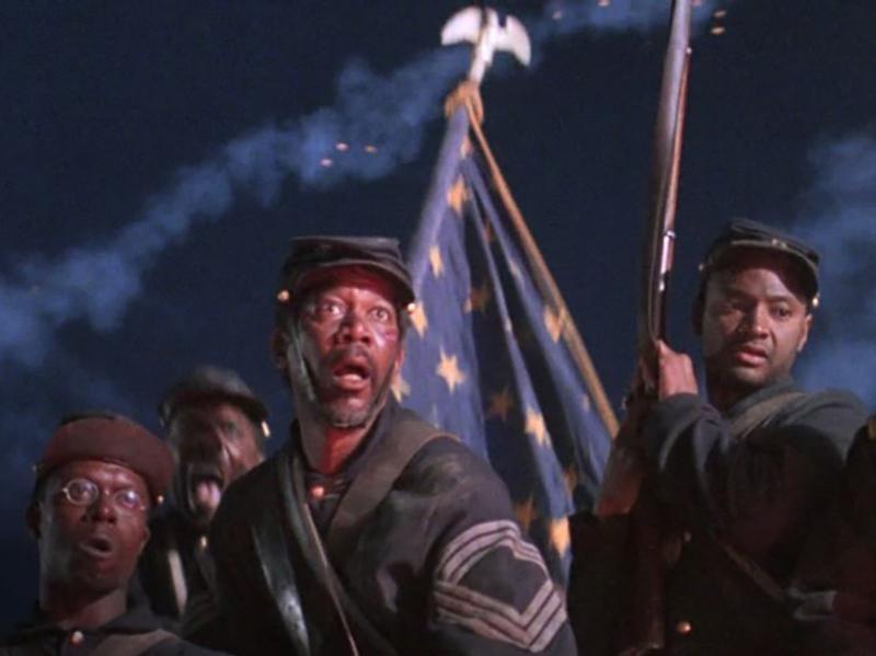 Cary Elwes, Morgan Freeman, Andre Braugher, and Jihmi Kennedy in Glory (1989)