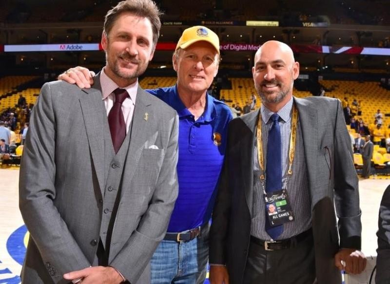 Rick Barry poses with sons Brent Barry and Jon Barry at game