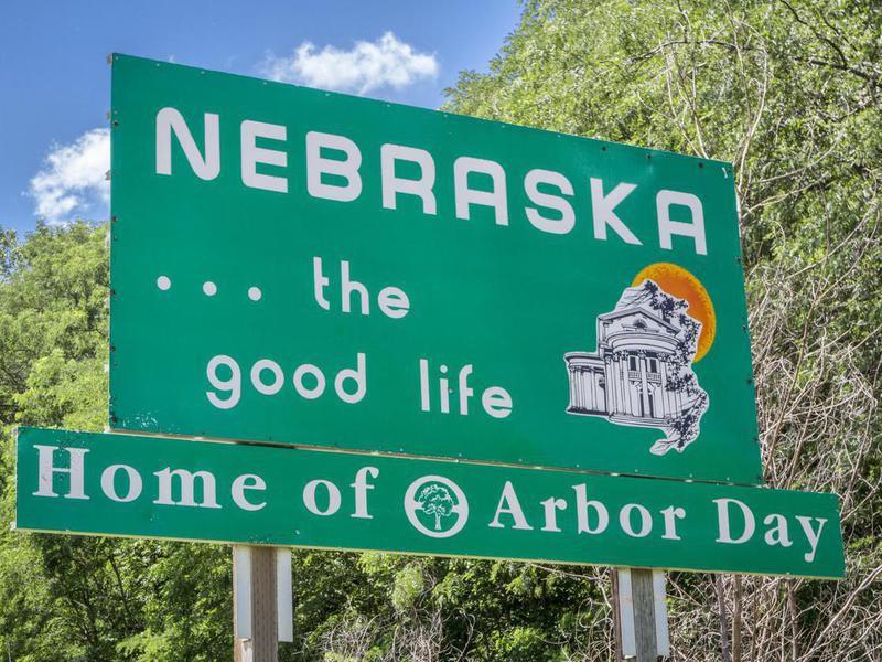 Nebraska welcome road sign