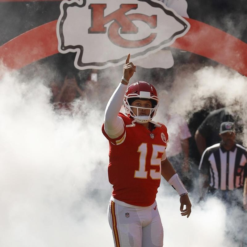 Patrick Mahomes comes out onto the field at Arrowhead Stadium