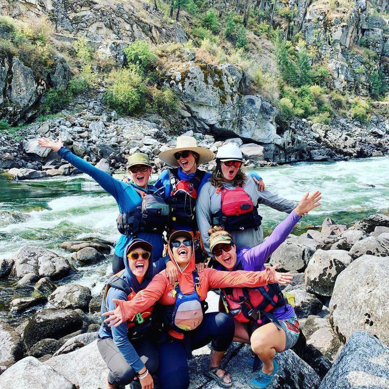 Women white water rafting