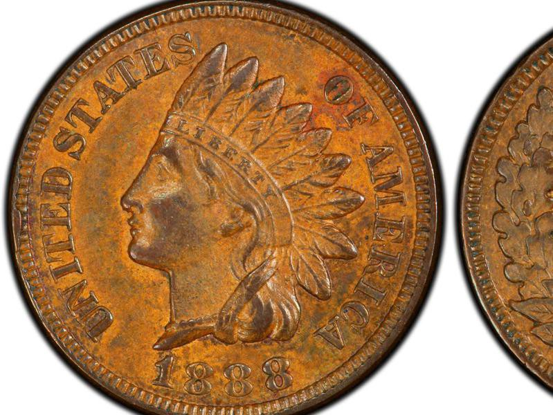 1888 Indian Head Cent (Last 8 Over 7)