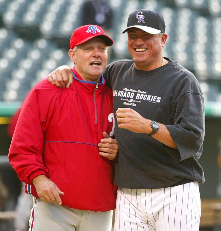 Clint Hurdle jokes with Phillies' Greg Gross