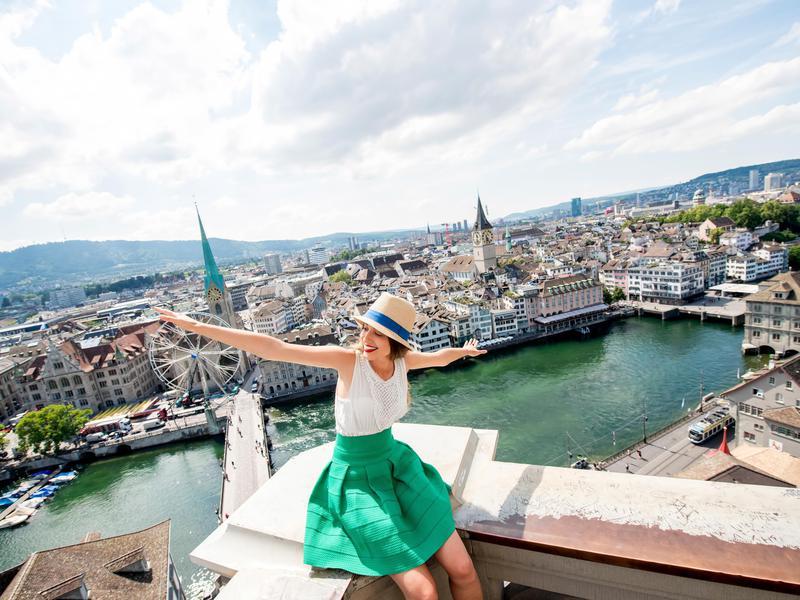 Happy woman in Zurich, Switzerland