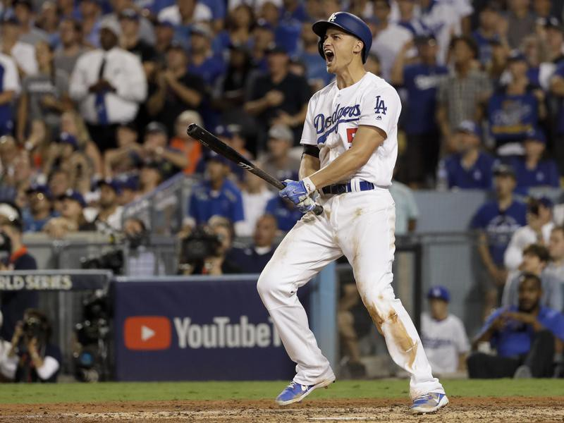 Corey Seager of the Dodgers celebrates after a two-run home run against the Houston Astros