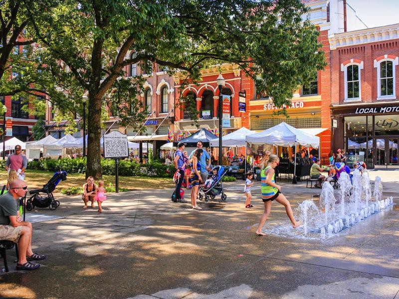 People in Market Square in Knoxville, Tennessee
