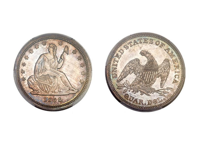 Proof 1838 Seated Liberty Quarter