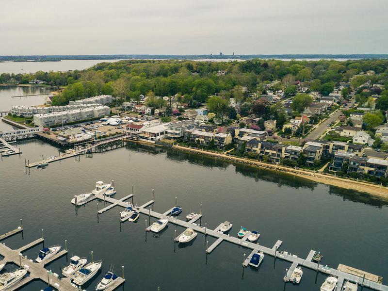 The aerial scenic view on the marina of Port Washington, Long Island, New York,