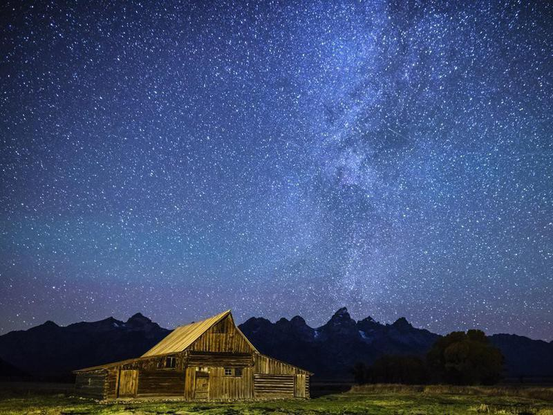 Star filled night over Mormon Row Barn GTNP