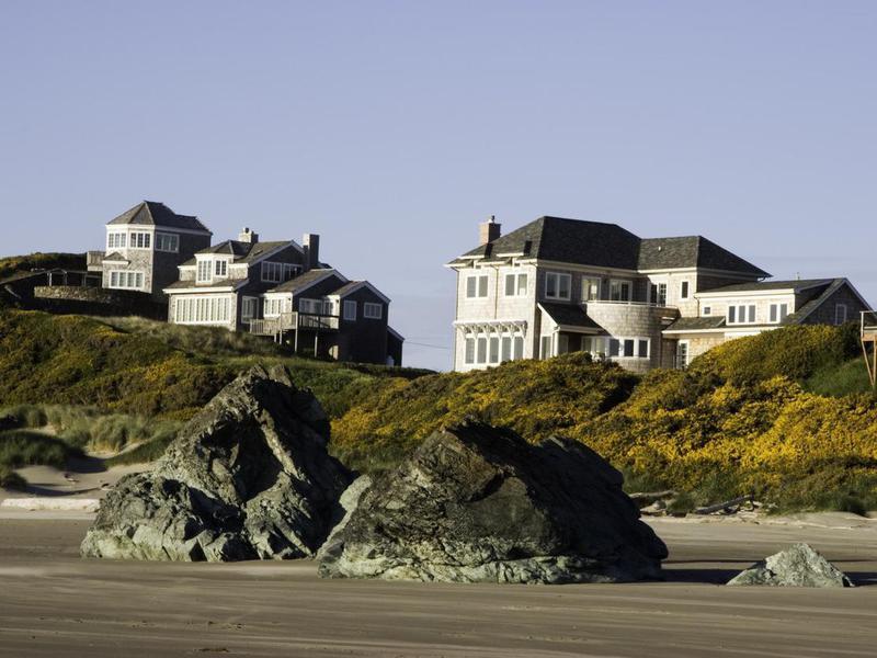 Homes on Bandon Beach, Oregon
