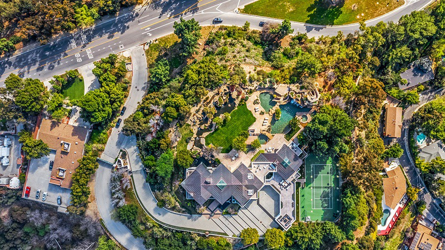 Aerial view of Pharrell Williams' house in Beverly Hills