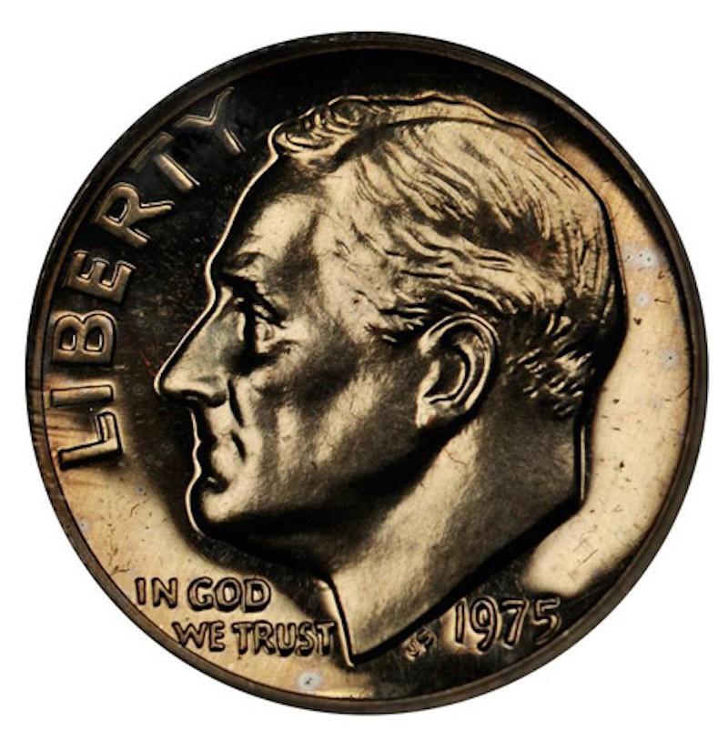 1975 No S Roosevelt Dime Prooff