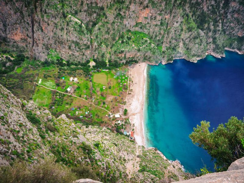 Amazing beach of the Butterfly Valley, Fethiye, Oludeniz, Mugla, Turkey. Lycian way. Summer and holiday concept. (Kelebekler Vadisi)