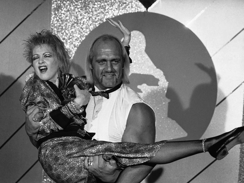 Cyndi Lauper with Hulk Hogan in 1985
