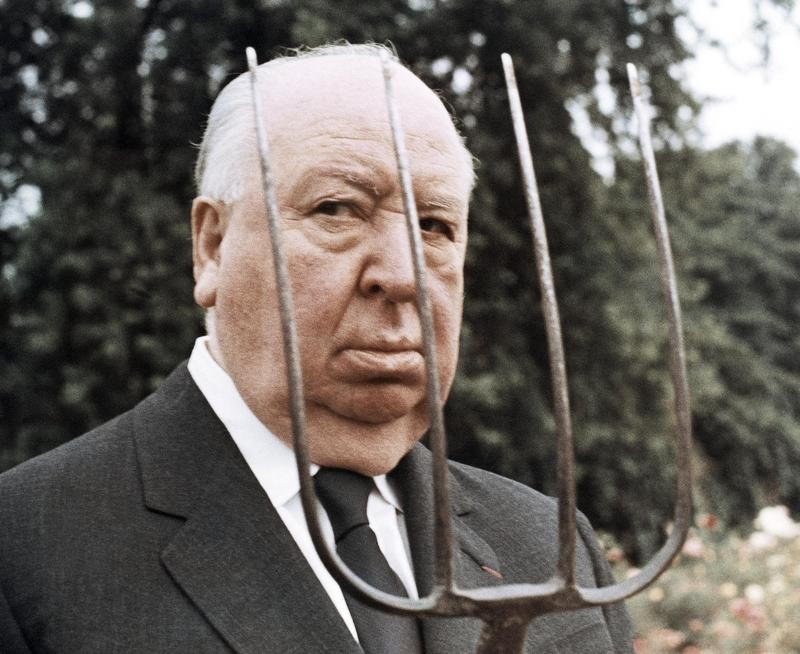 Alfred Hitchcock with pitchfork