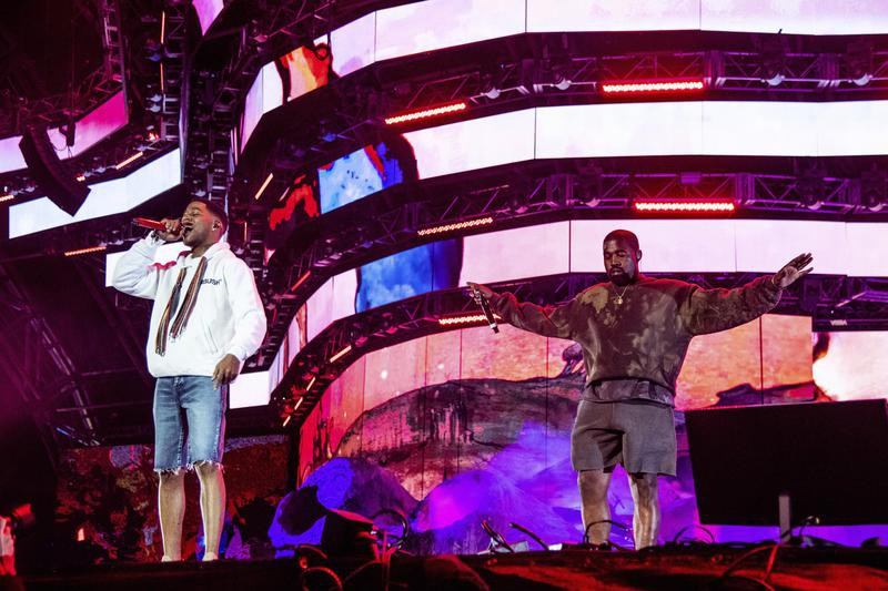 Kanye West and Kid Cudi perform at Coachella