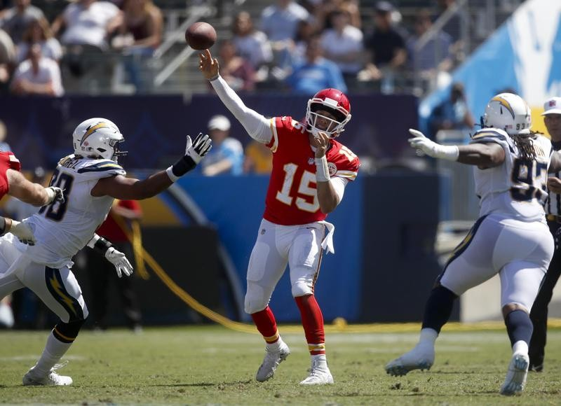 Patrick Mahomes throws against the Los Angeles Chargers