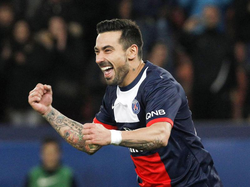 Ezequiel Lavezzi celebrates a goal during his time playing with Paris Saint-Germain in France in 2013.