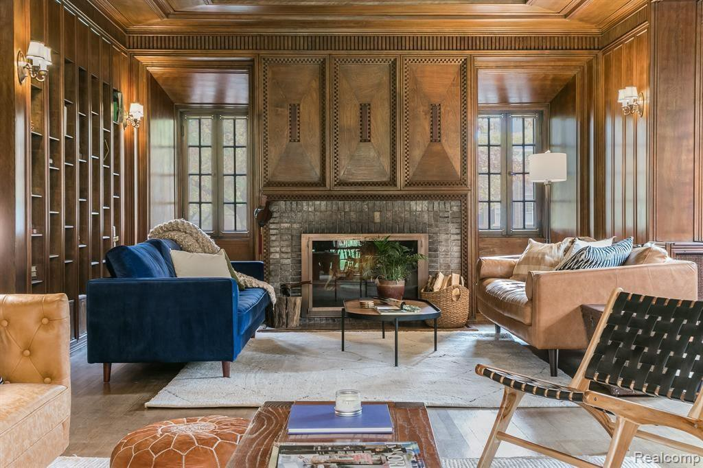 Classic study with wood paneling