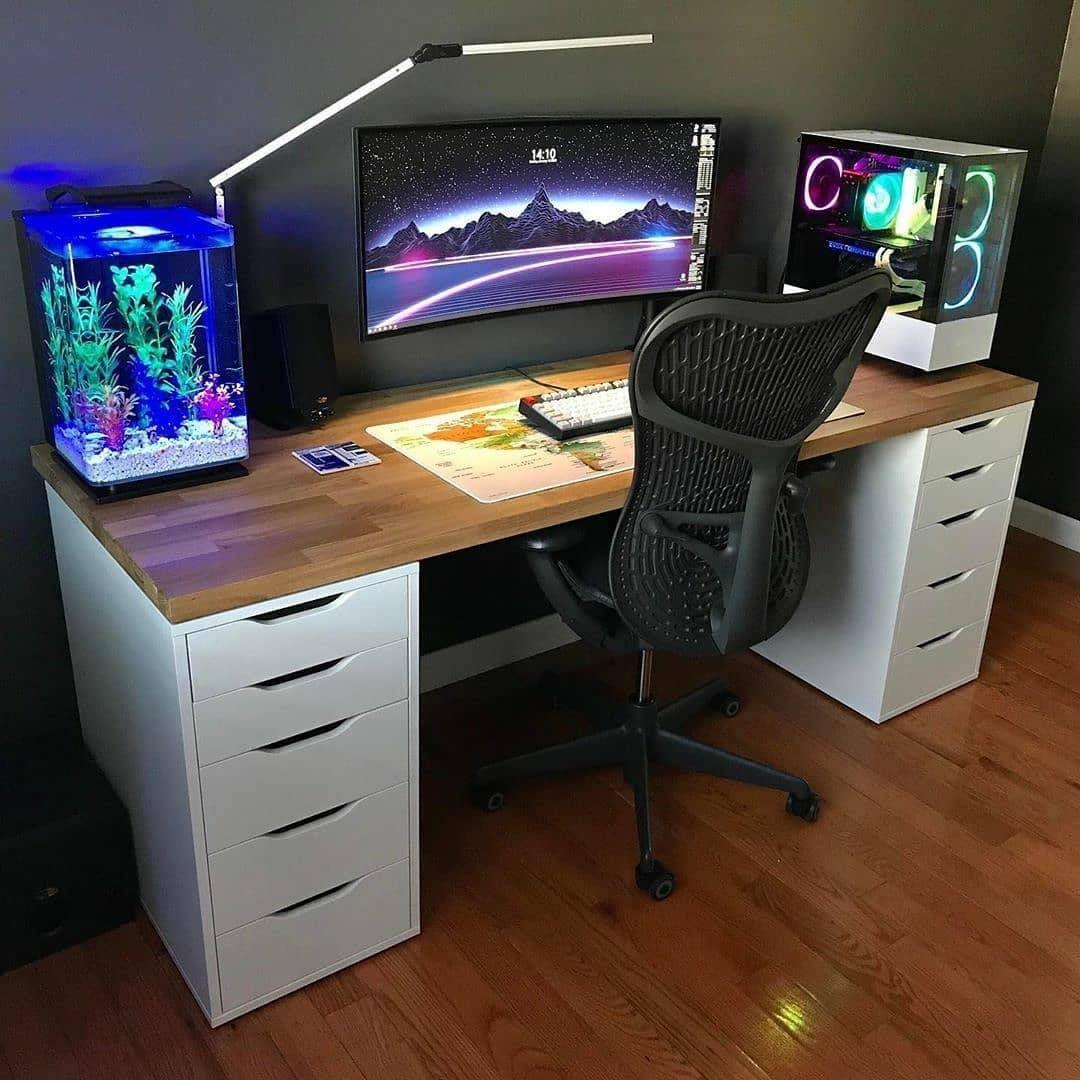 Fish tank desk setup