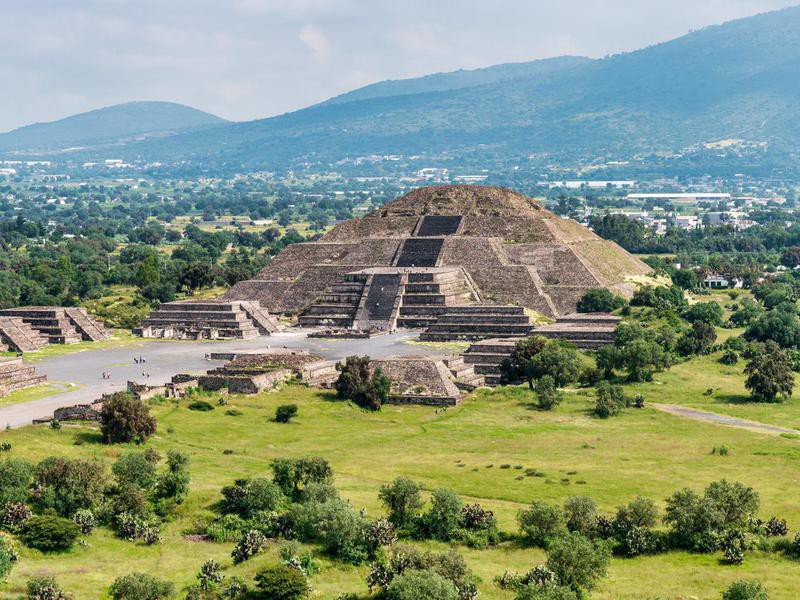 Ancient Teotihuacan pyramids and ruins in Mexico City