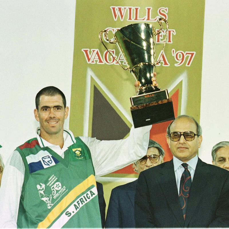 Hansie Cronje after receiving trophy