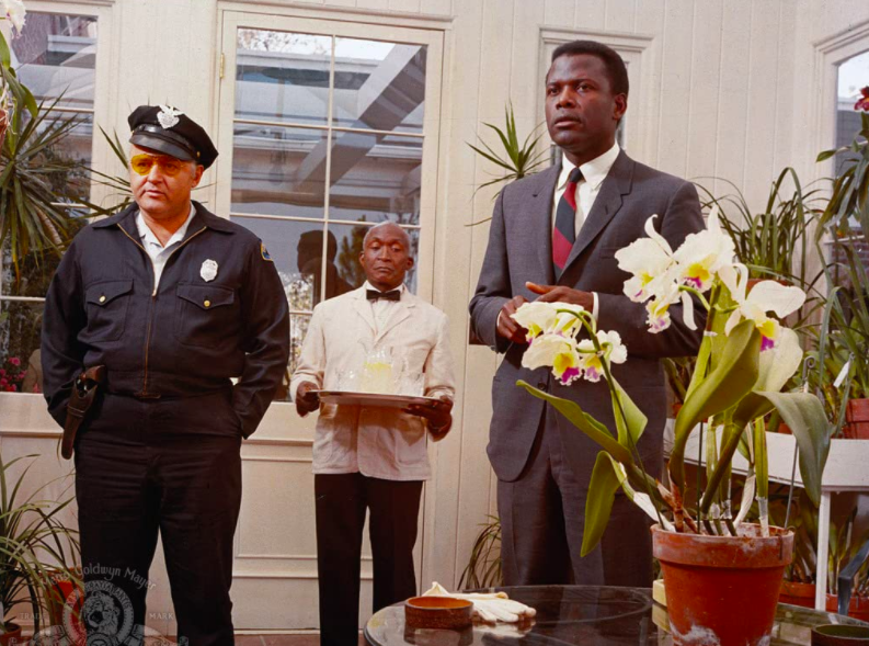 Sidney Poitier, Rod Steiger, and Jester Hairston in In the Heat of the Night