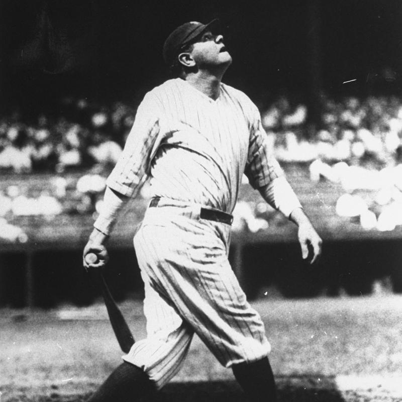 Babe Ruth lofting home run