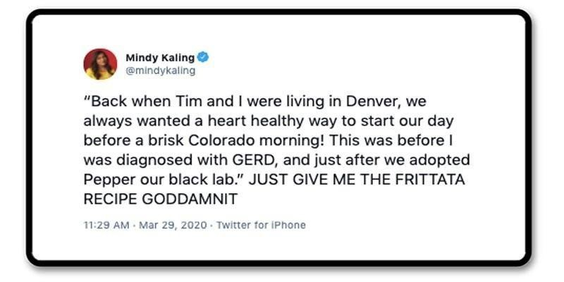 Mindy Kahling tweet about recipes
