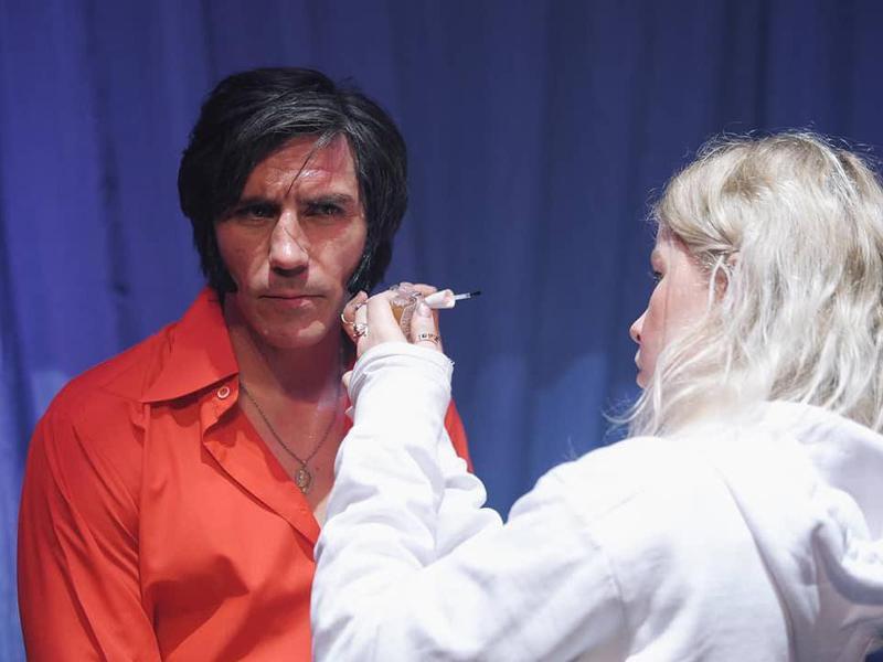 Movie makeup artist on set