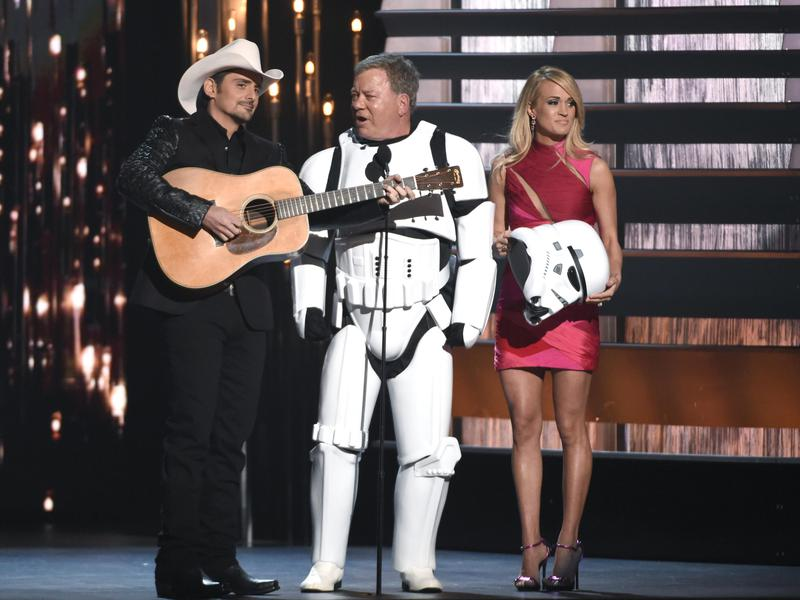 """Shatner grew his career by saying """"yes"""" to many things, including appearing as a stormtrooper with Brad Paisley and Carrie Underwood at the CMA Awards in 2015."""