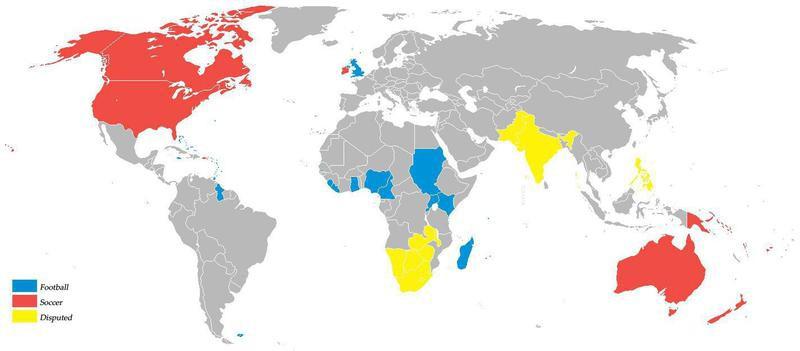 Soccer vs. football map