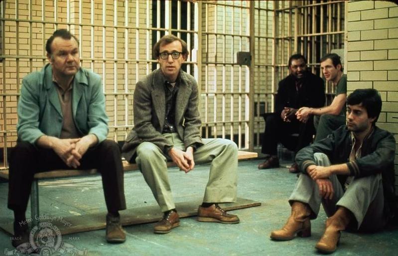 Woodie Allen sitting in cell in Annie Hall