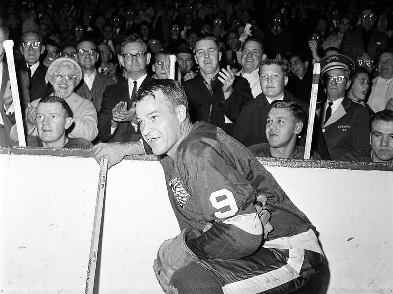 Gordie Howe on the ice with Detroit Red Wings fans
