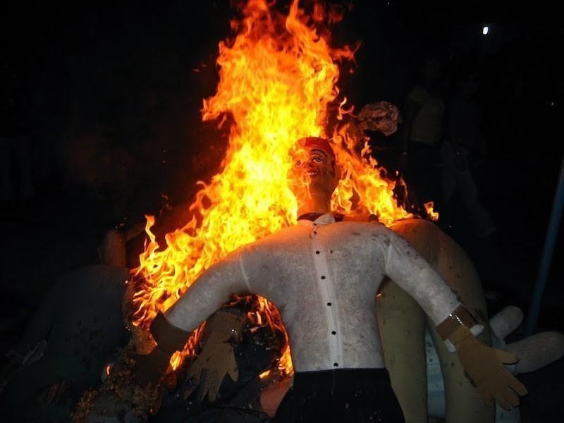 Burning of Año Viejo Dolls