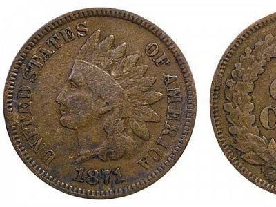 1871 Indian Head Cent (Bold N)