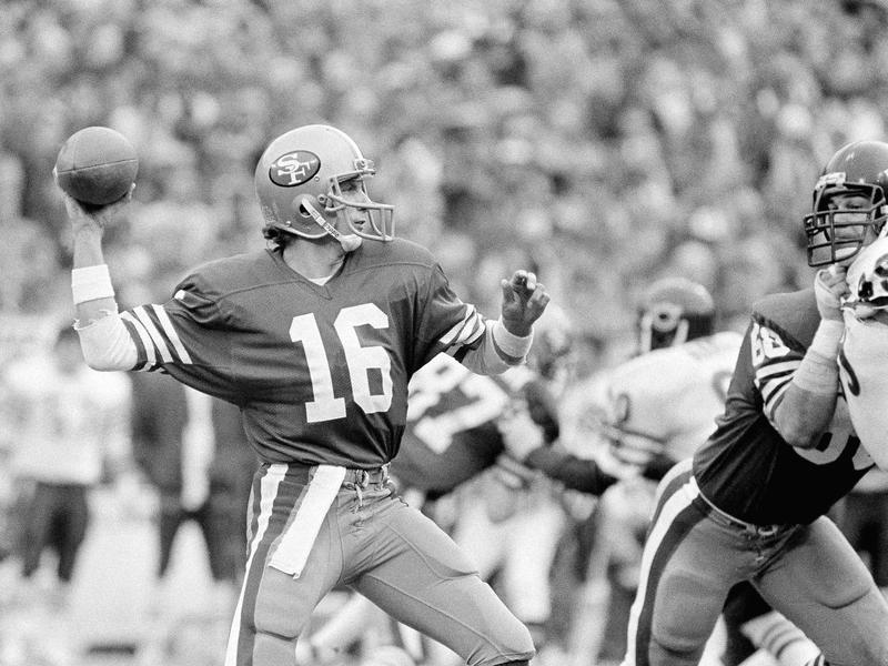 San Francisco 49ers quarterback Joe Montana prepares to unleash 13-yard first-down toss