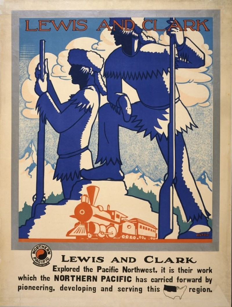 Northern Pacific Railway ad with Lewis and Clark