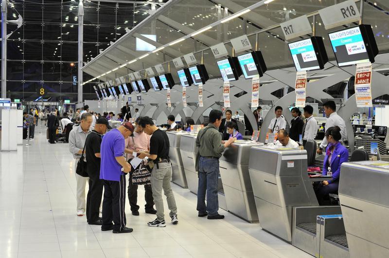 Check-in counters at Bangkok International Airport