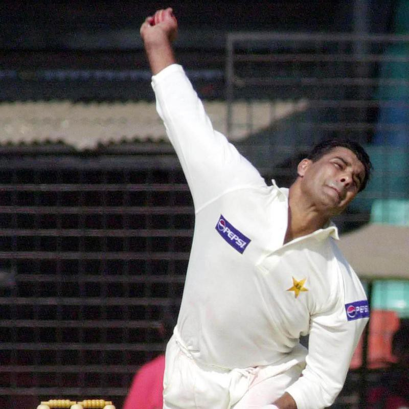 Waqar Younis delivers a ball