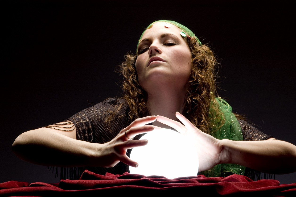Fortune teller with crystal balls