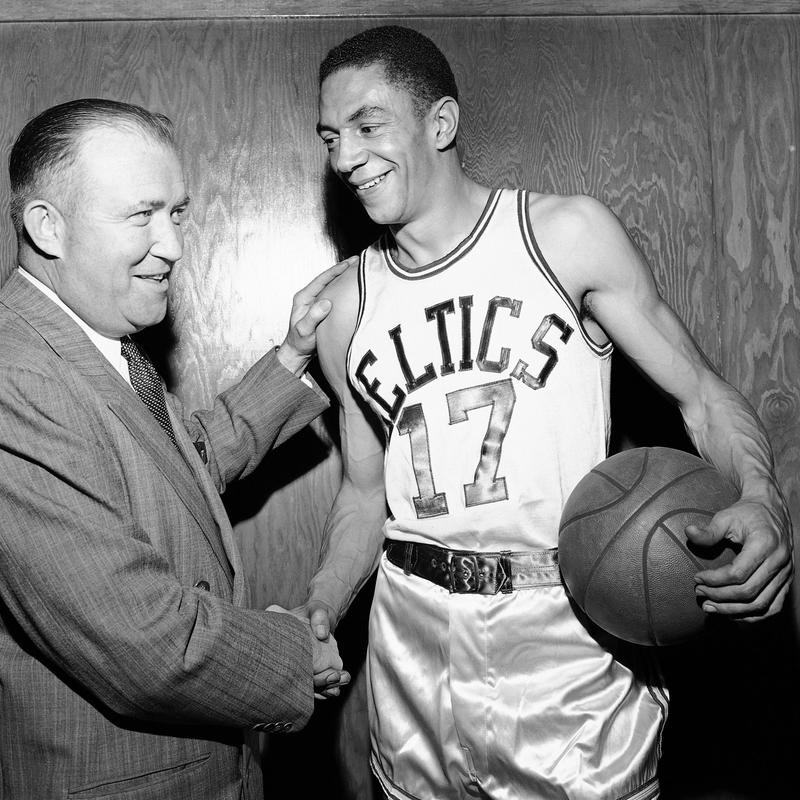 Don Barksdale greets Walter Brown