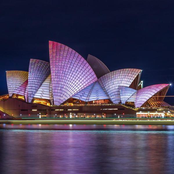 Sydney, NSW, Australia - June 16, 2016: The Sydney Opera House during Vivid Sydney 2016.