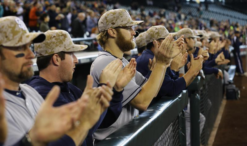 Padres in camouflage baseball caps